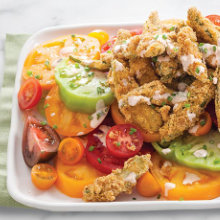 Fried Okra and Heirloom Tomato Salad